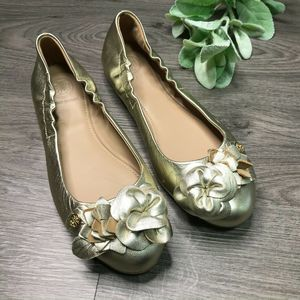 TORY BURCH | 6.5 gold blossom leather ballet flats